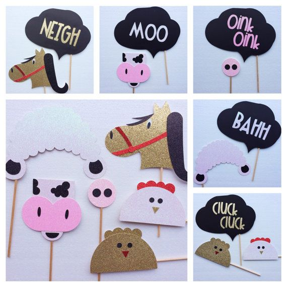 Farm Animal Glitter Photo Booth Props Bundle; Barnyard birthday party ; Cow Prop, Sheep Prop, Pig Prop, Chicken Prop, with Word Bubbles by Lets Ge tDecorative