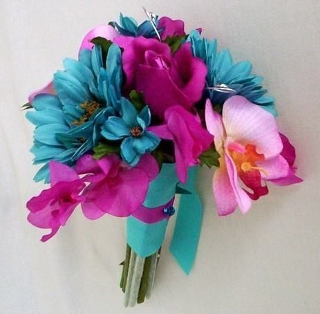 Fuschia Bouquet Boutoniere Set Turquoise By Budgetweddingbouquet
