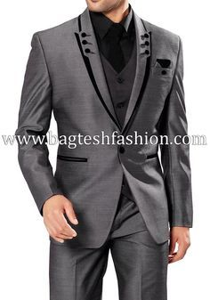 Classic Mens Gray Party Wear Suit