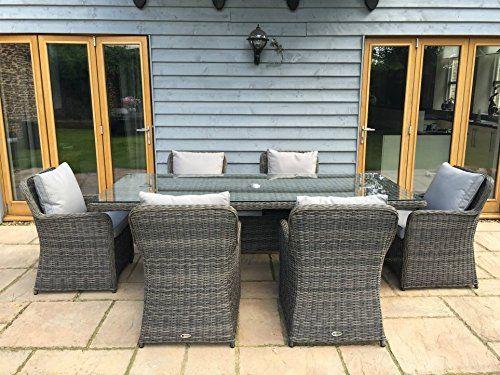 venice luxury grey rattan garden or conservatory 6 seat rectangular dining furniture set