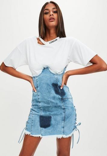 Londunn + Missguided Blue Denim High Waist Denim Skirt  | Missguided