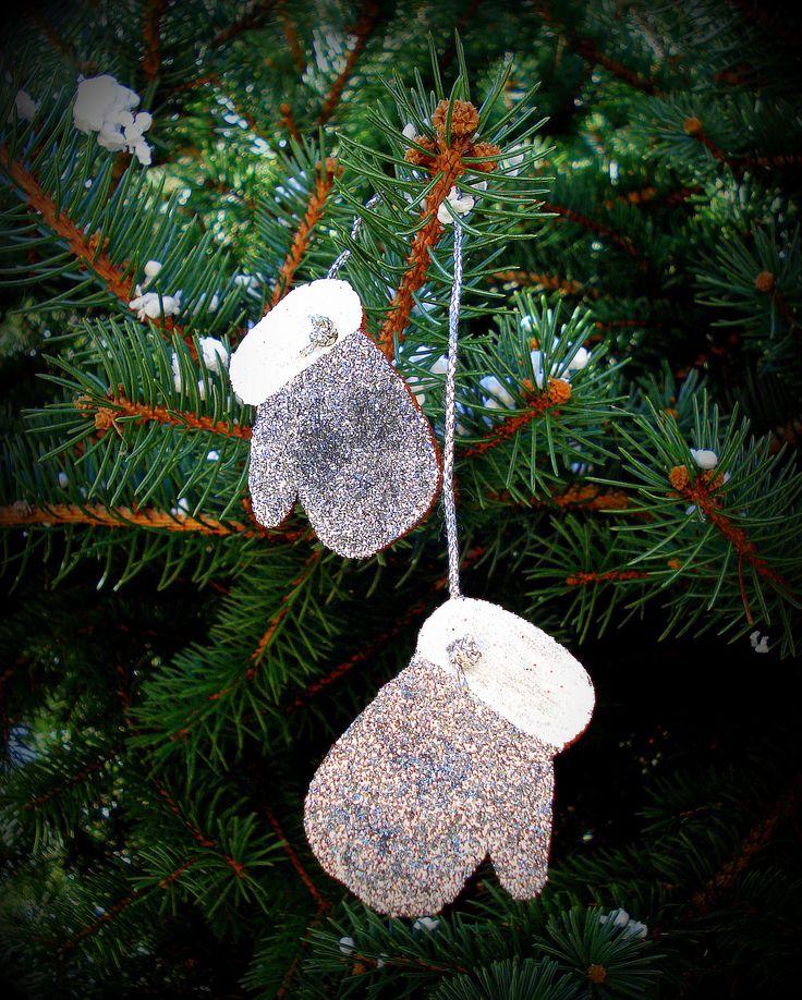 silver diy cinnamon ornaments, gloves