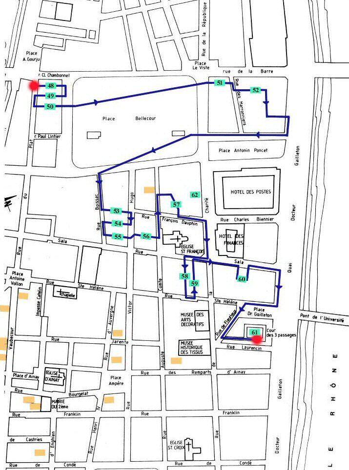 Traboule Lyon Plan du parcours presqu'île centre