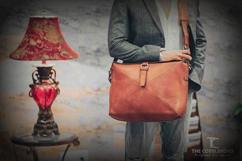 "Work Satchel Leather Bag - We've created this wonderfully de-cluttered design. Our lovely leather wool combo makes this soft satchel look and feel good from   the outside in, protecting your valuables whilst staying light and slim"" www.thecobbleroad.in http://goo.gl/iTpl1n"