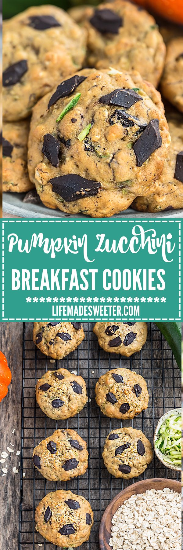 Soft and chewy flourless Zucchin Breakfast Cookies make the perfect healthy breakfast and on-the-go snack! Best of all, they're so easy to make with no mixer required. Gluten free, refined sugar free and no butter!