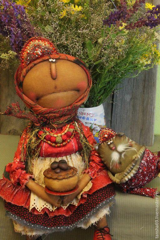 Купить Испекли мы каравай... - разноцветный, текстильная кукла, ароматизированная кукла, интерьерная кукла, котик