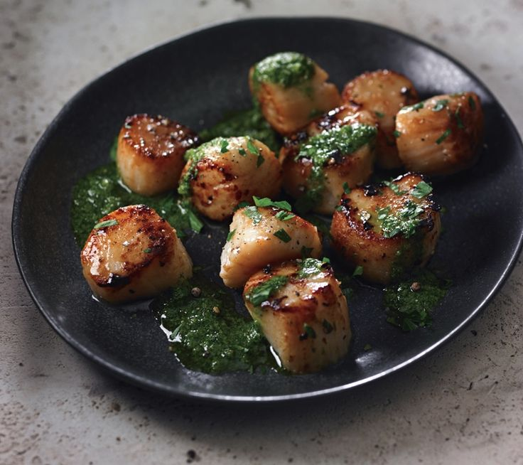leeks seared scallops with salsa verde recipe yummly seared scallops ...