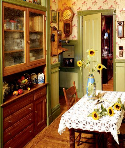 Kitchen With Painted Trim, Built In China Cabinet