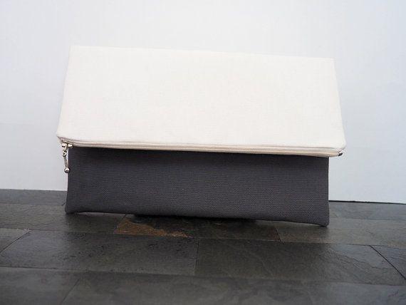 SALE - Grey and white canvas foldover clutch, zipper clutch, zippered clutch, clutch purse, clutch bag, summer clutch, de almeida designs