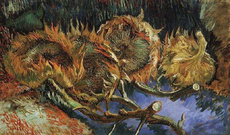 """I girasoli sono una serie di quadri ad olio su tela dipinti tra il 1888 e il 1889 ad Arles da Vincent van Gogh, dopo una prima serie di quattro """"Girasoli"""" dipinta a Parigi, nel 1887 --- https://ilsassonellostagno.wordpress.com/2016/08/08/vincent-van-gogh-girasoli-sassi-darte/"""