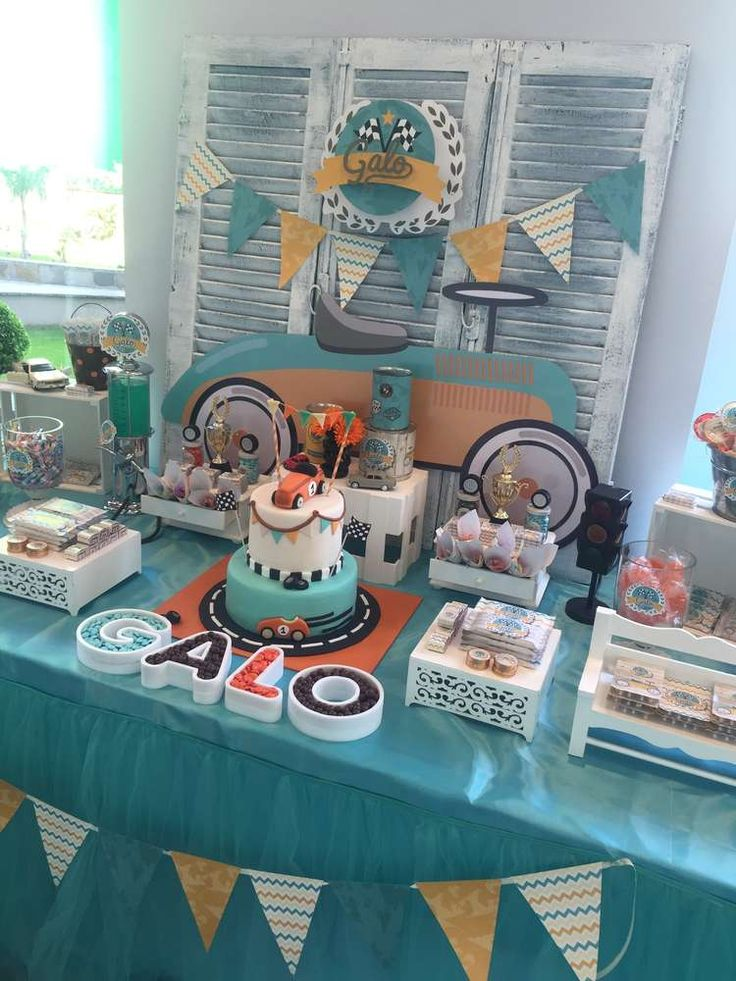 An adorable Vintage Car themed birthday party. Perfect for car loving boys! See more party ideas at CatchMyParty.com