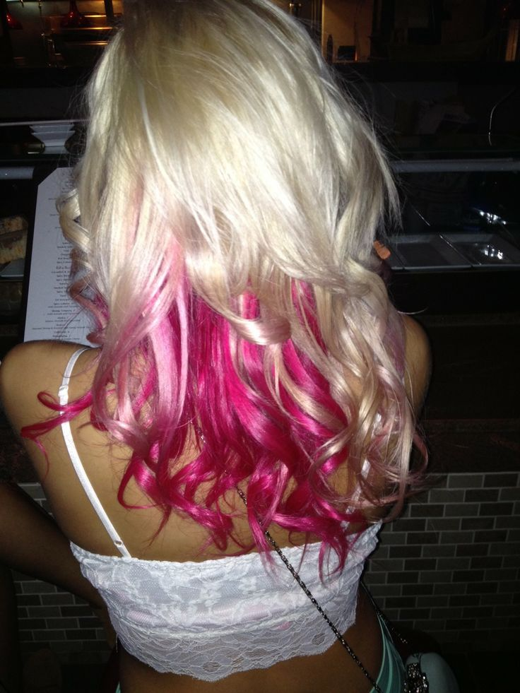 This is what I want to do to my hair but not as blonde or even go brown. But definitely want hotnpink.