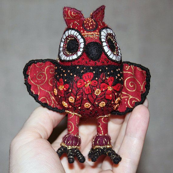 Fantasy red needle felted owl embroidered by by SecretFriends