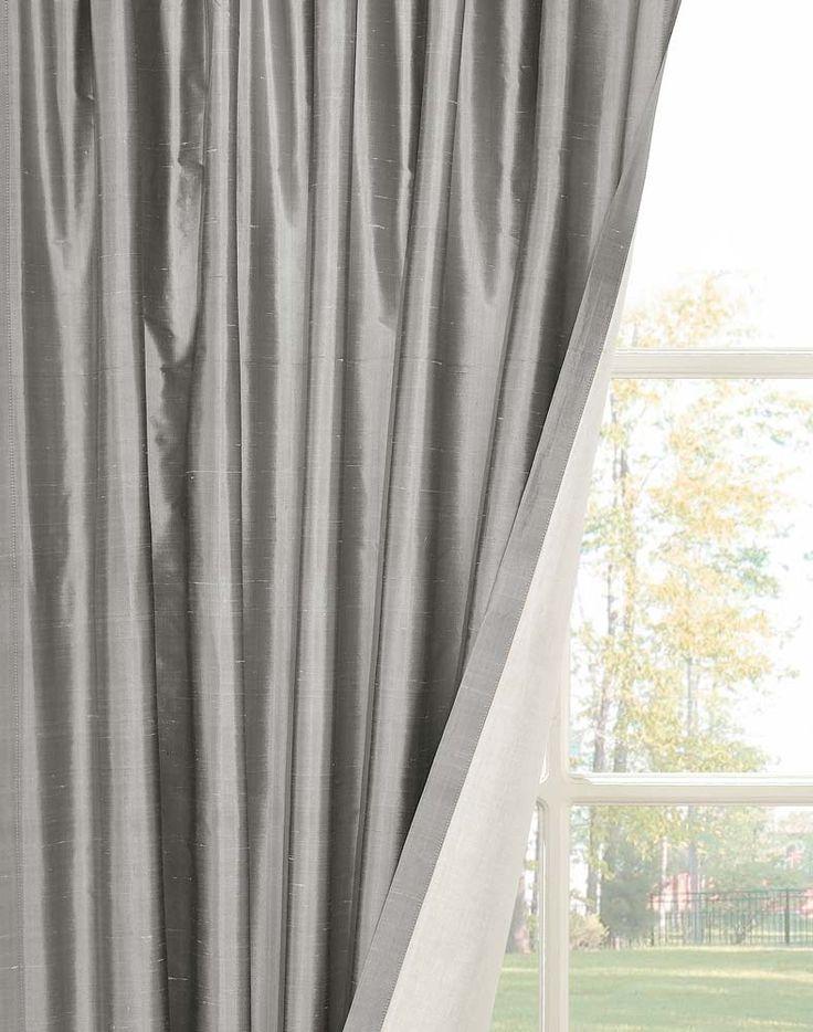 Dupioni Silk Pinch Pleat Luxury Curtain Panel / Curtainworks.com | Dining  Room Ideas | Pinterest
