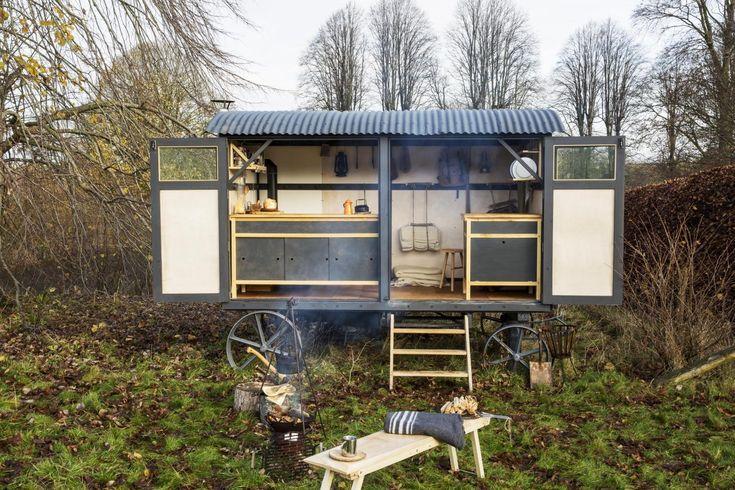 Mobile kitchen in shepherd's hut.