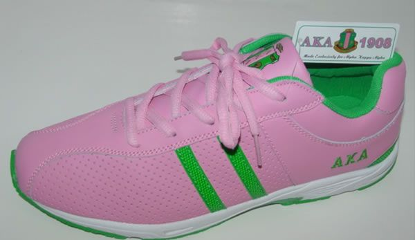 AKA pink and green leather sneakers