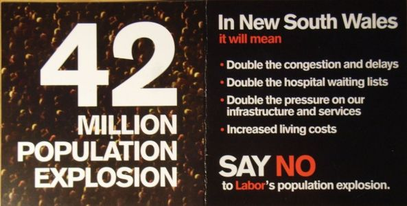 42 Million Population Explosion (an election leaflet published by Liberal Party of Australia) 2010 federal election | ElectionLeaflets.org.au