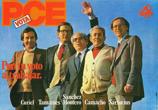 Cartgel electoral del PCE en los 80. De izda. a derecha: Enrique Curiel (terminó en el PSOE). Tamames, Sánchez Montero, Marcelino Camacho y Nicolás Sartorius (que también terminó en el PSOE)..
