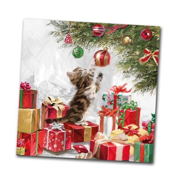 Christmas winter 4 Single paper decoupage napkins Xmas eve bed story -X202