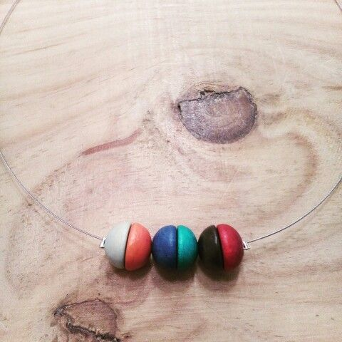 Wood beads & steel wire Tim & Kat jewelry