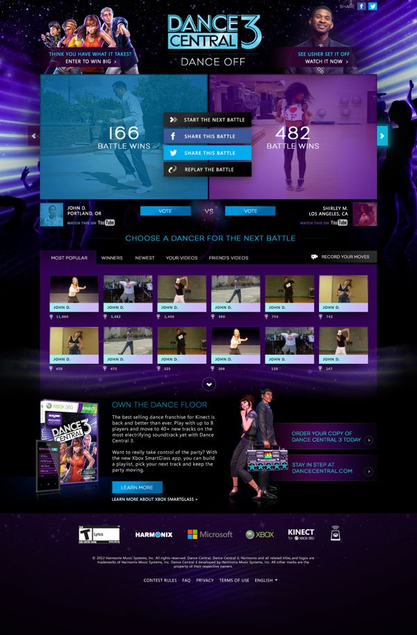 Dance Central 3 Facebook App by Ryan Mendes, via Behance