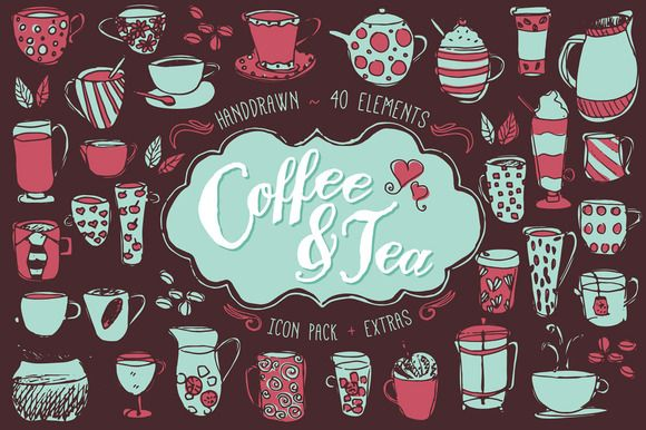 Coffee & Tea Icon Pack & 48 Bonus Seamless Patterns. Handcrafted icons. Logos