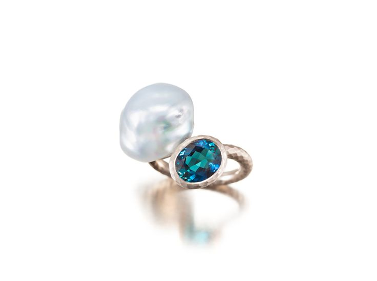 Ring with a Pearl and Tourmaline