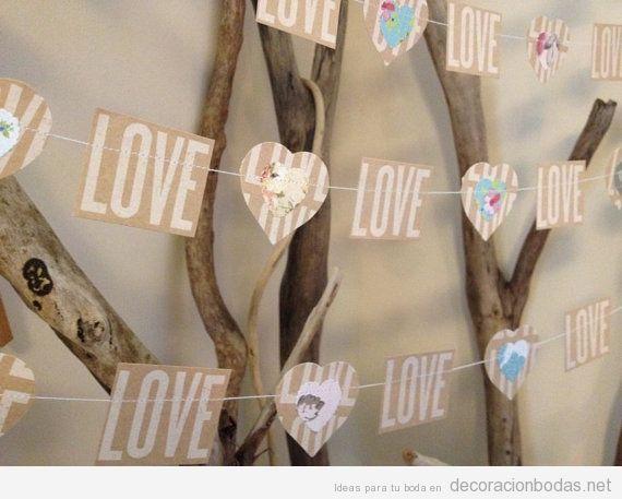 Guirlanda de papel con la palabra amor, DIY y barato
