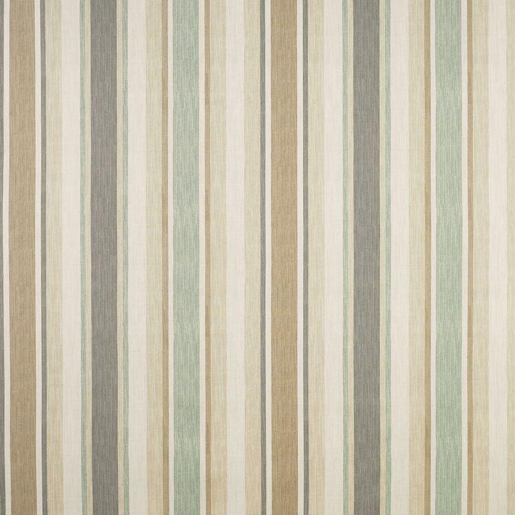 Awning Stripe Cotton/Linen Fabric Biscuit/Eau De Nil at LAURA ASHLEY