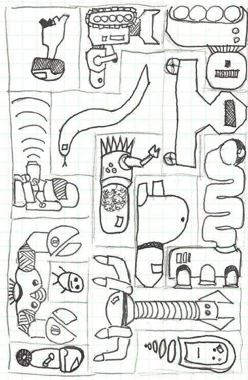 "This weekend, I was looking at making a puzzle something like this one: (but with something other than cats): So I drew out a template with different shapes on graph paper. My 9 and 6 year old kids saw me working on it, and asked if they could help. So we drew one with robots in it: After drawing it, I thought: ""This would be a great use of the Glowforge Camera function"". We could print out a puzzle template on paper, have the kids draw in fun things in the shapes, and..."
