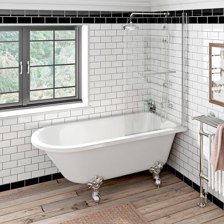 Shakespeare Freestanding Shower Bath and Bath Screen with Rail