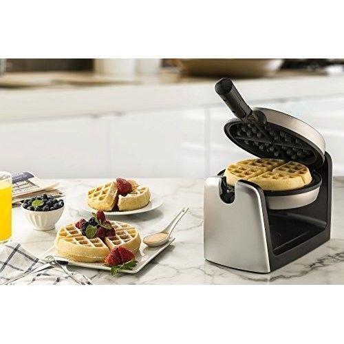 Electric Belgian Waffle Maker Stainless Steel Kitchen Baker Machine Round Flip #ElectricBelgianWaffleMaker