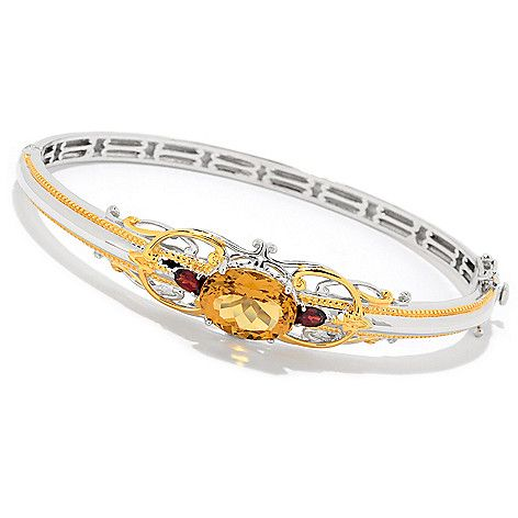 "163-363 - Gems en Vogue Final Cut 6.5"" or 7.25"" 5.87ctw Brazilian Citrine & Garnet Hinged Bangle Bracelet"
