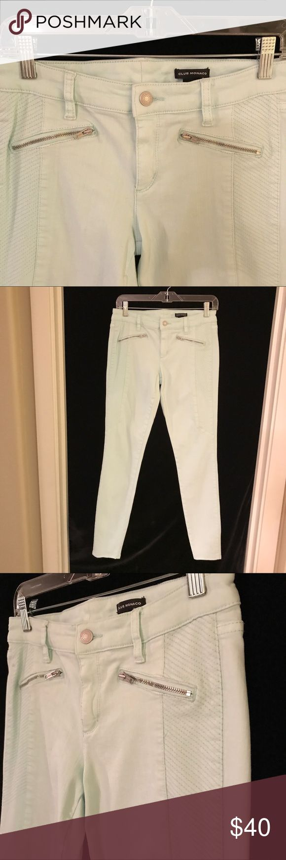 Club Monaco Pale Blue Skinny Pants w/Zippers 4 Pale ice blue stretchy skinny pants with front zippers and texturing on the sides.  Inseam measures 29.5 inches.  Excellent preowned condition. Club Monaco Pants Skinny