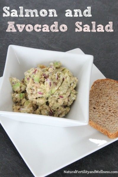 "salmon (or tuna) and avocado salad - SO good! Grab this recipe for a quick lunch.  (this is an ""S"" without the sprouted bread, a crossover with the bread)"
