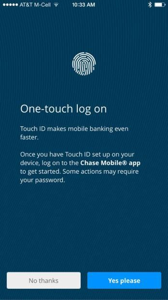 Chase has added fingerprint login support to its iPhone application.