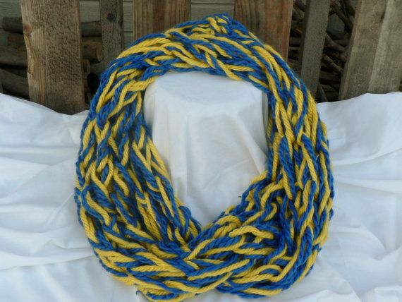 Royal Blue and Yellow Arm Knit Infinity Scarf by WarmButterfly