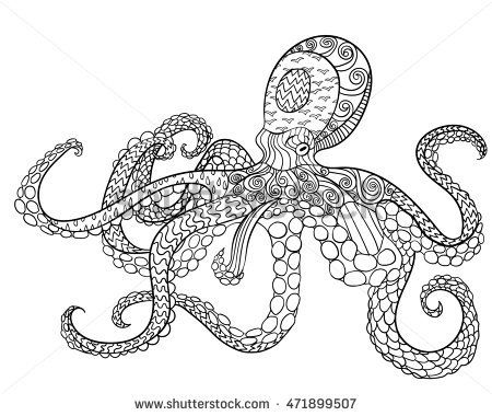Adult Antistress Coloring Page Black White Hand Drawn Doodle Oceanic