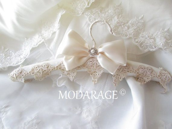 SALE Padded Wedding Dress Hanger white or ivory.... by Modarage