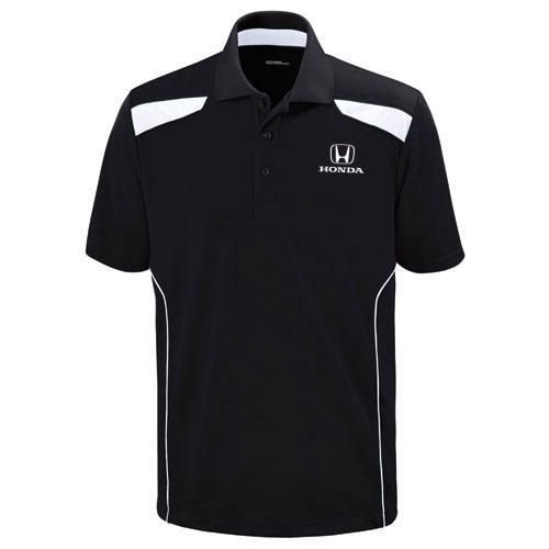 Men's Polo Shirt. 50% recycled polyester/50% polyester textured mesh. Moisture wicking and UV protection performance. Honda logo embroidered on left chest.
