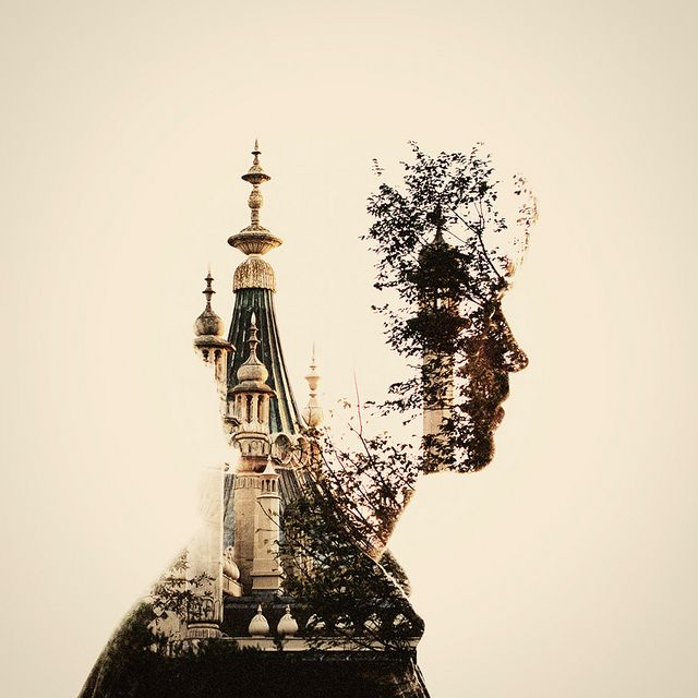 Dan Mountford. This double exposure photograph by Dan Mountford combines a silhouette with an outside view. Linking to the theme of inside outside and in between.