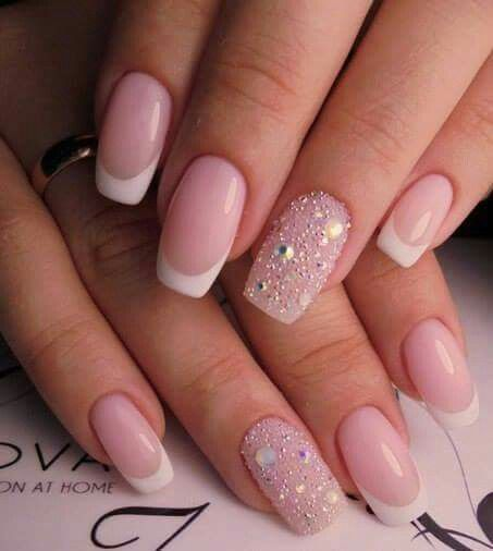 Deep Smile Line French Manicure with Crystal accent nail.