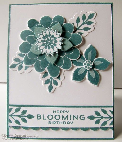 Stampin' Up! ... handmade card: Lost Lagoon and Flower Patch ... posy montage of stamped, die cut and layer flowers ... luv it!
