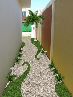 [Very creative.  The curlicued bits make me think of brontosauruses.  The wall at left would look even better with creeping fig climbing it.]  Cool idea for sideyard!