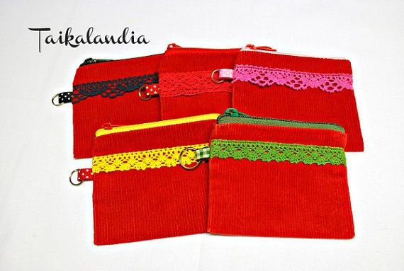 Red zipper pouch with lace decor. #handmade #colorfulpouches #Lacepouch #zipperpouch #Handdyed #coinpurse