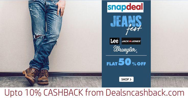Lee, Wrangler & Jack Jones Jeans flat 50% off @snapdeal.com+ get upto 10% cashback from dealsncashback.com  www.dealsncashback.com/merchants/snapdeal  #snapdeal #dealsncashback #cashbackindia #deals #sale #shopping #jeans #clothing