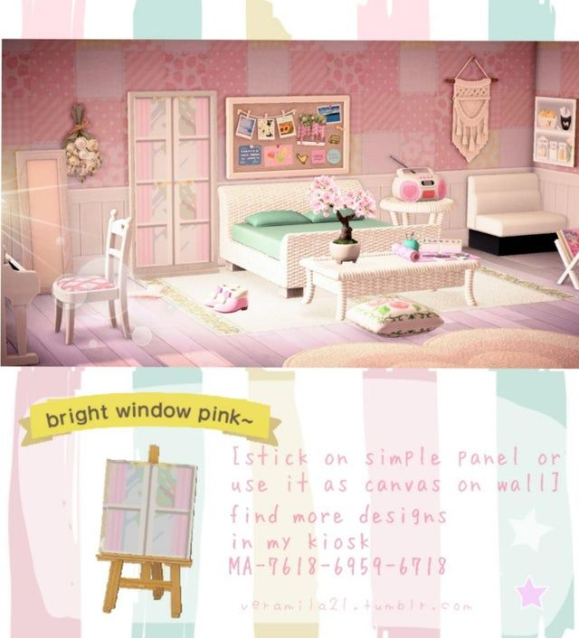 Pink Version Of The Bright Windows To Give You Room A More Spacious Feel Enjoy Acqr New Animal Crossing Animal Crossing Villagers Animal Crossing Qr