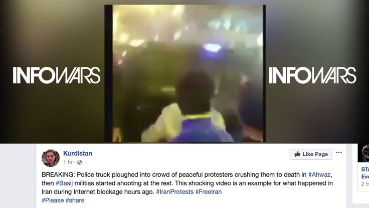 Police Truck Plows Into Peaceful Iranian Protestors Then Militias Open Fire