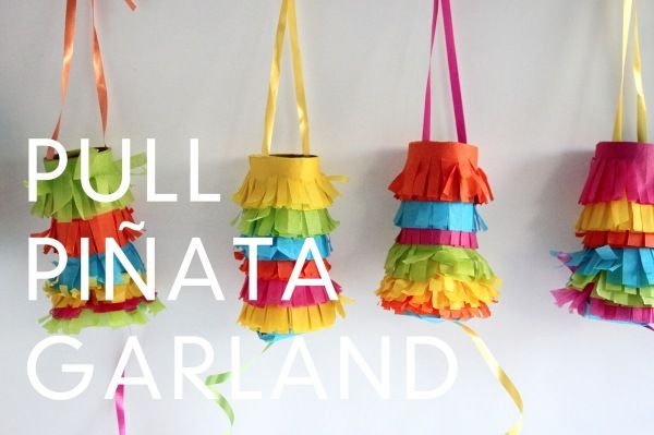 tiny pull pinatas (made with toilet paper rolls)