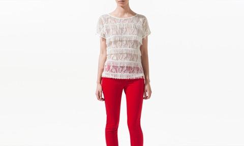 : Fringes Blouses, Style, Lace Fringes, Shorts Sleeve, Fringes Tops, Zara United States, U.S. States, Sleeve Tops, Red Pants